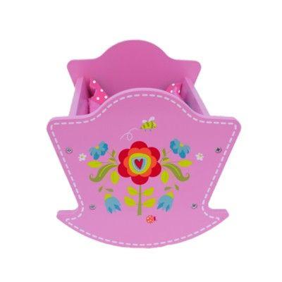 Dockvagga med sängkläder - rosa med blommor