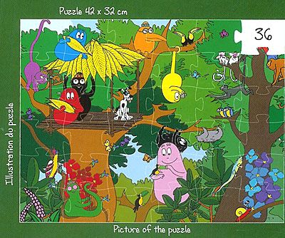 Pussel - Barbapapafamiljen på safari - 36 bitar
