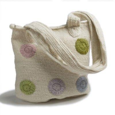 Väska, virkad med blommor - cremevit