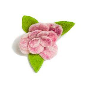 Brosch med blomma - ljusrosa