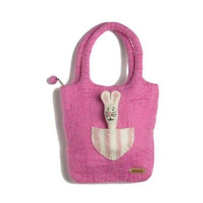 Väska med kanin i tovad ull