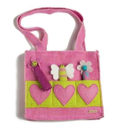 Väska i tovad ull med fingerdockor - rosa