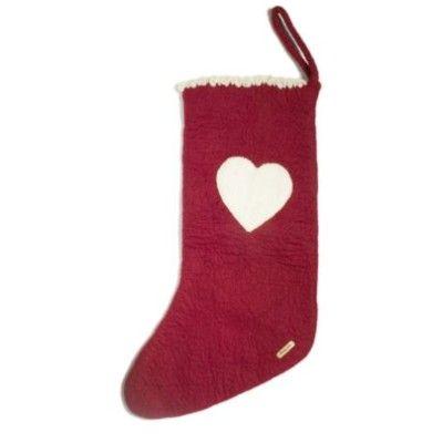 Julstrumpa i tovad ull med hjärta