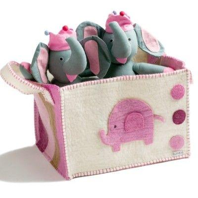 Förvaringslåda i tovad ull med elefant - rosa