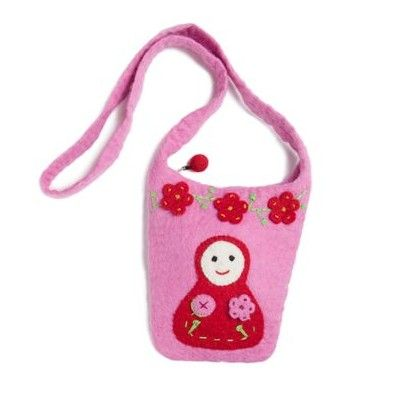Väska, rosa, i tovad ull med babuschka
