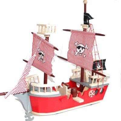 Piratskepp i trä - röd