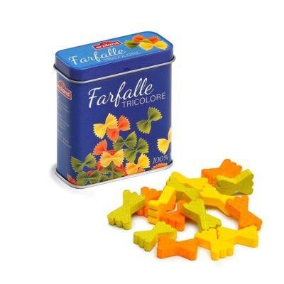 Leksaksmat - Farfalle tricolore i trä i plåtask