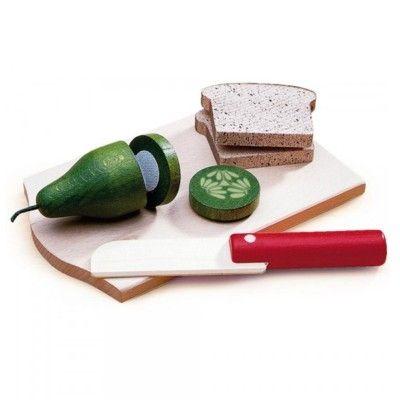 Leksaksmat - Bricka med mackor och gurka i trä
