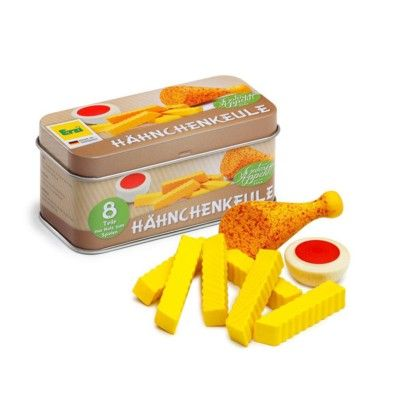 Leksaksmat - Kyckling & pommes med ketchup i plåtask