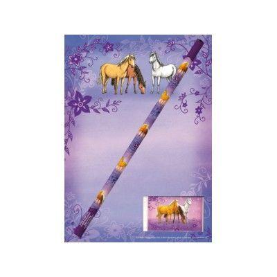 Skrivset med hästar - block, penna och suddgummi