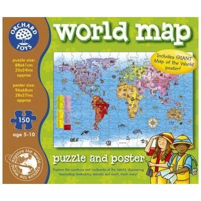 Pussel - världskarta med poster - Orchard Toys