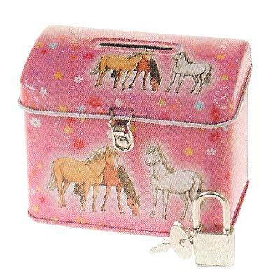 Sparbössa med lås - rosa med hästar