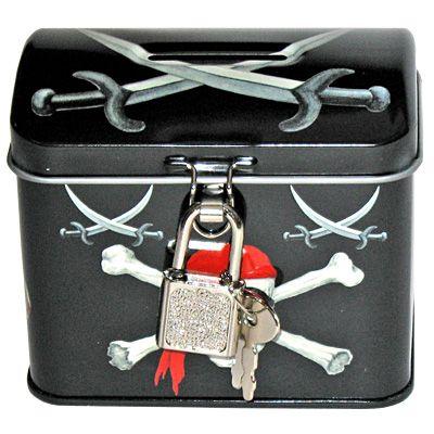 Sparbössa med lås - svart med dödskalle
