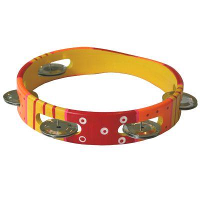 Tamburin, röd/gul/orange