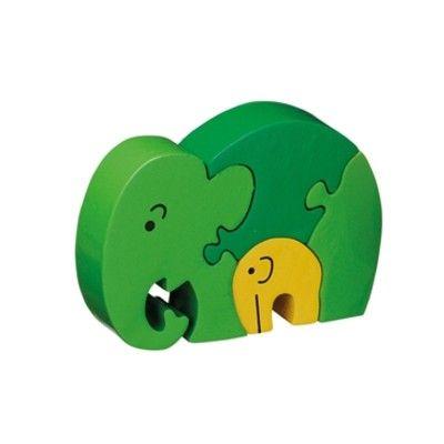 Pussel - Elefantmamma med barn - grön (Fair Trade) - Lanka Kade