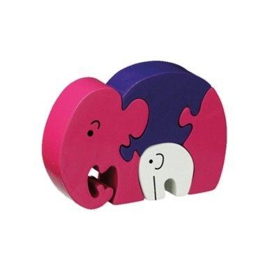 Pussel - Elefantmamma med barn - rosa (Fair Trade) - Lanka Kade