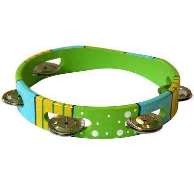 Tamburin, grön/gul/blå