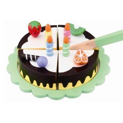 Tårta på fat i trä - choklad med ljus & frukt