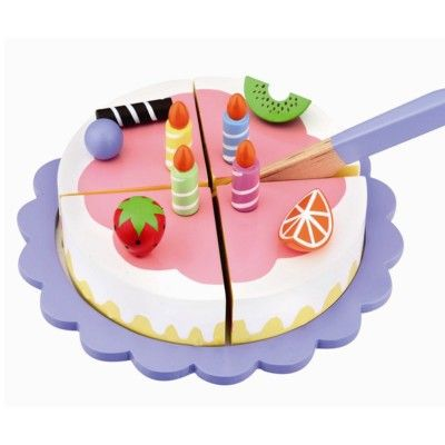 Leksaksmat - Tårta i trä - hallon med ljus & frukt