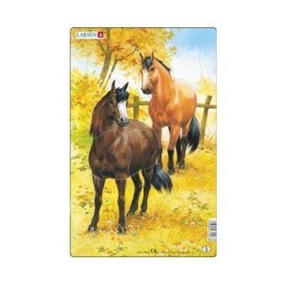 Pussel - två bruna hästar