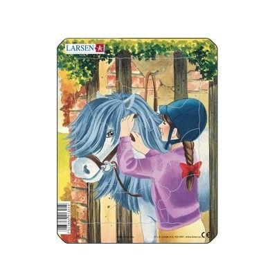 Pussel - mini - häst och flicka med lila tröja