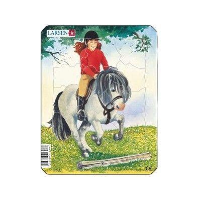 Pussel - mini - häst och flicka med röd tröja
