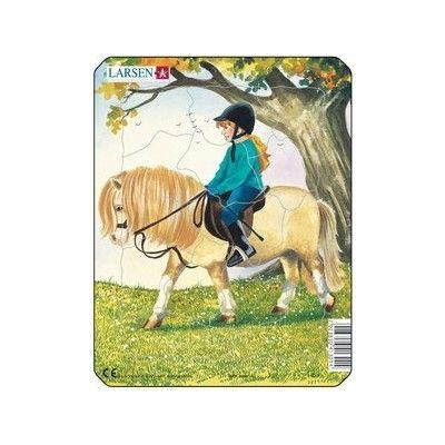 Pussel - mini - häst och flicka med grön tröja