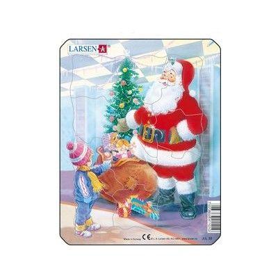 Pussel - mini - tomte med julklappar