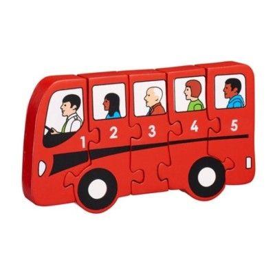 Pussel - Lär dig siffror 1-5 - Buss (Fair Trade) - Lanka Kade