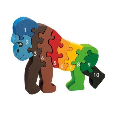 Pussel - Lär dig siffror 1-10 - Gorilla (Fair Trade) - Lanka Kade