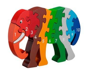Pussel - Lär dig siffror - elefant 1-10 (Fair Trade) - Lanka Kade