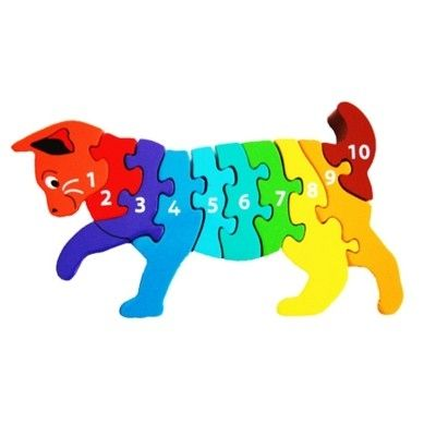 Pussel - Lär dig siffror 1-10 - Katt (Fair Trade) - Lanka Kade
