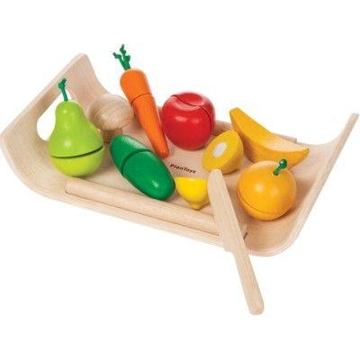 Leksaksmat - Frukt och grönt i trä - ekologisk från PlanToys