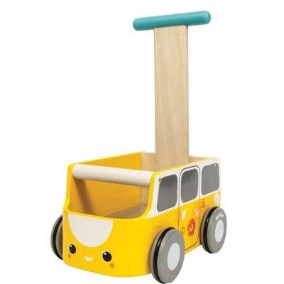 Gåvagn - gul buss - ekologisk från PlanToys