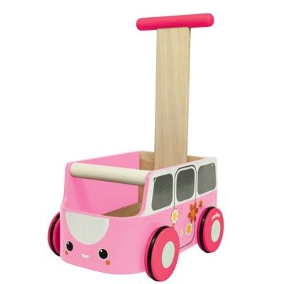 Gåvagn - rosa buss - ekologisk från PlanToys