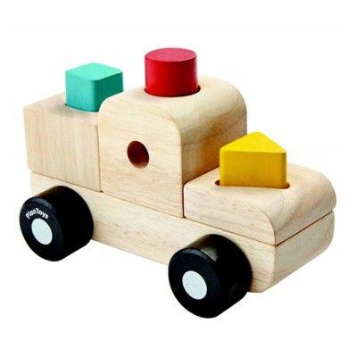 Klossbil - sorteringspussel - lastbil - ekologisk från PlanToys