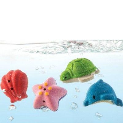 Badleksak - havsdjur, 4 st - ekologisk från PlanToys