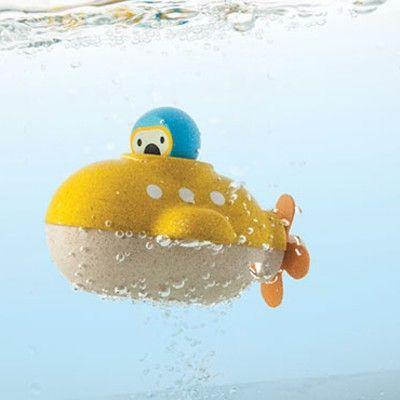 Badleksak - U-båt i trä - ekologisk från PlanToys