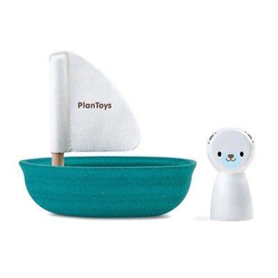Badleksak - Segelbåt i trä - isbjörn - ekologisk från PlanToys