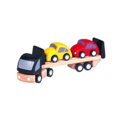 Lastbil i trä med 2 bilar - ekologisk från PlanToys