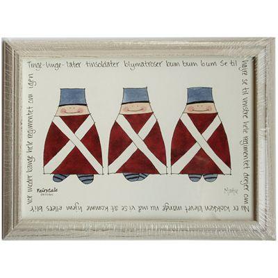 Tavla med tre fina soldater i träram