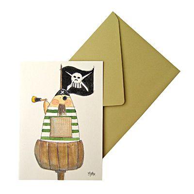 Kort med kuvert - Pirat med kikare