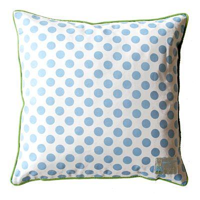 Kudde - vit med ljusblå prickar