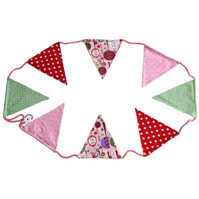 Flaggirlang, rosa/röd/grön