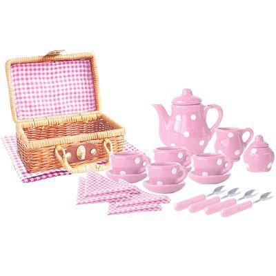 Servis i porslin - rosa med vita prickar