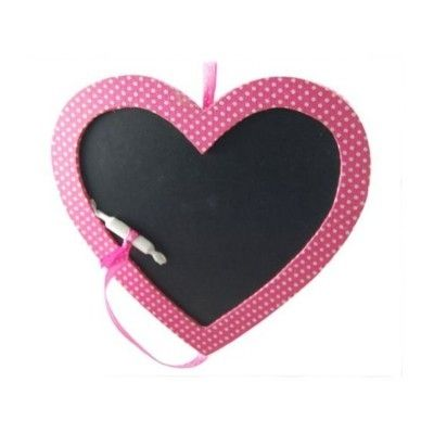 Griffeltavla - rosa hjärta med prickar