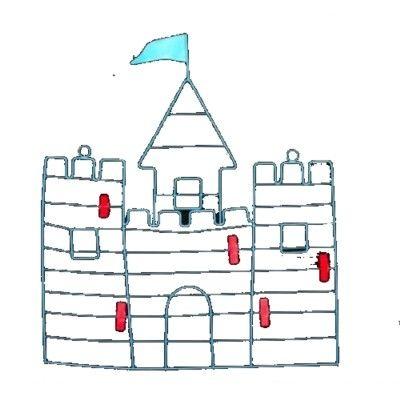 Anslagstavla i metall - blå borg