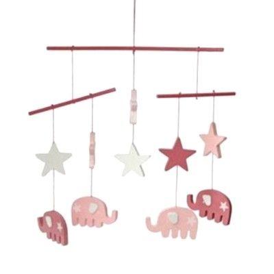 Mobil i trä - Rosa elefanter och stjärnor