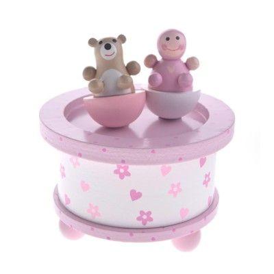 Speldosa med baby och nalle - rosa