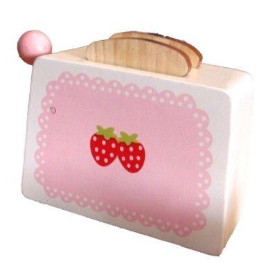 Leksaksmat - Brödrost i trä -  rosa